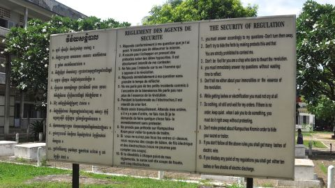 """""""While getting lashes or electrification you must not cry at all."""" A display at the Tuol Sleng Genocide Museum shows the 10 rules prisoners were forced to follow at S-21 prison."""