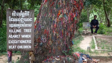 A Cambodian man sits in Choeung Ek Killing Fields near a tree that was used to beat children to death during the Khmer Rouge regime on August 6, 2014 in Phnom Penh, Cambodia.