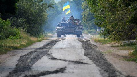 Ukrainian troops patrol near the village of Novoselovka on Thursday, July 31.