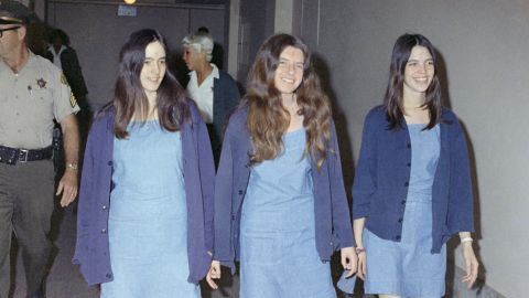 From left, Susan Atkins, Patricia Krenwinkel and Leslie Van Houten walk to court to appear for their roles in the murders.
