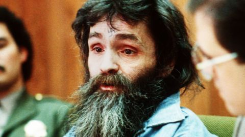 Manson is seen in court during a parole hearing in 1986.  He was denied for the sixth time.