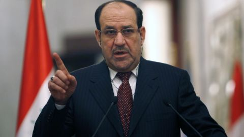 """Iraqi Prime Minister Nuri al-Maliki gives a joint press conference with United Nations Secretary-General Ban Ki-Moon (unseen) in Baghdad about the situation in Iraq and Syrian on January 13, 2014 during the latter's two day visit to Iraq. UN Secretary-General Ban Ki-moon called for Iraqi leaders to address the """"root causes"""" of a surge in bloodshed as security forces clashed with gunmen in violence-wracked Anbar province. AFP PHOTO / Ahmed Saad / POOL           (Photo credit should read Ahmed Saad/AFP/Getty Images)"""