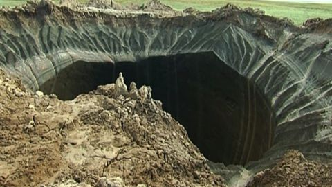 A crater in the Yamal Peninsula, in Yamalo-Nenets Autonomous Okrug, Russia.