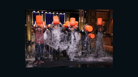"""Jimmy Fallon, host of """"The Tonight Show,"""" and members of his house band, The Roots, took part in the Ice Bucket Challenge."""
