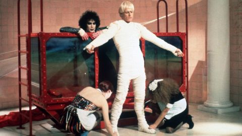 """Peter Hinwood, the man who famously wore those teensy gold shorts (under his mummy wrap here) as Dr. Frank N Furter's creation, Rocky, has since receded from the spotlight. After his star turn in """"The Rocky Horror Picture Show,"""" he was credited for one other film before he dropped acting. Now an art and antiques dealer in London, <a href=""""http://www.people.com/people/archive/article/0,,20132607,00.html"""" target=""""_blank"""" target=""""_blank"""">he told People magazine</a> in 2000 that he left acting behind because """"One, I can't act. Two, I cringe with embarrassment every time I see myself on film. (And) three, I relish a quiet, peaceful life."""""""