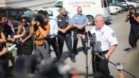 Ferguson Police Chief Thomas Jackson fields questions during a news conference on August 13, 2014.