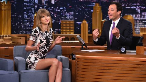 """Taylor Swift, visiting """"The Tonight Show Starring Jimmy Fallon"""" on Wednesday, is shaking off the haters."""