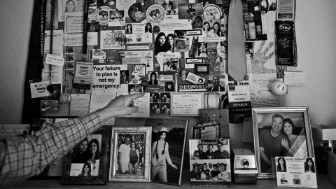 A bulletin board of mementos from years past serves as both an homage to Halperin's family and as a reminder to him about life events.