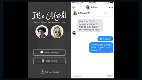 """Fast-growing app Tinder lets users build profiles by importing photos and interests from their Facebook accounts. The app will then produce nearby matches -- possibly even down your street or across the bar -- fitting your search criteria. Users swipe right if they're interested and left if they want to reject the match. If both parties swipe right, """"it's a match!"""" and they can communicate from there."""