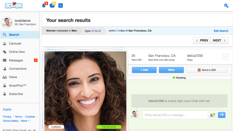 Zoosk is another app that boasts its own innovative matchmaking technology. As a user clicks on profiles, the technology documents the types he or she is attracted to in order to better match needs and preferences.
