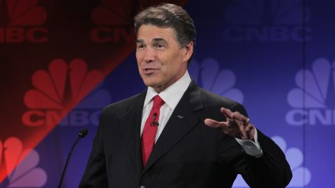 """At a GOP presidential debate on November 9, 2011, Perry fails to remember the third of three agencies he would cut if elected president. With self-deprecation he uttered """"oops,"""" a word that has since made him the butt of jokes, including his own."""