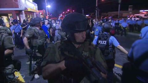 Ferguson police at protests Tuesday night