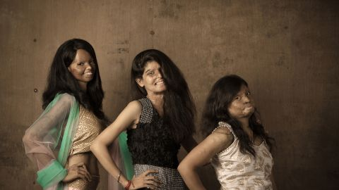 The clothes were designed by Rupa (R), 22, who survived an acid attack when she was 15.