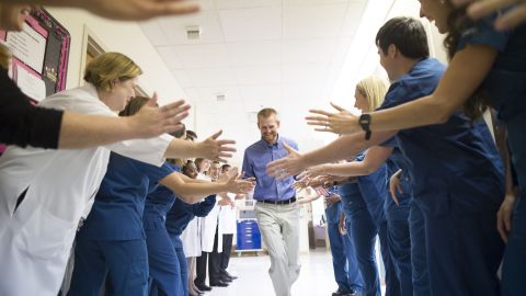Dr. Kent Brantly leaves Emory University Hospital on August 21, 2014, after being declared no longer infectious from the Ebola virus. Brantly was one of two American missionaries brought to Emory for treatment of the deadly virus.