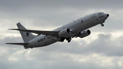 A US Navy P-8 Poseidon   (Photo credit should read GREG WOOD/AFP/Getty Images)