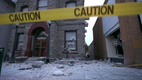 Debris litters the ground in front of a damaged building on August 24 in Napa.
