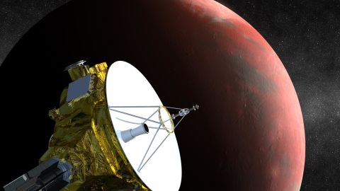 NASA's New Horizons spacecraft is the first probe sent to Pluto and it'scheduled to arrive in July 2015. This is an artist's concept of the spacecraft flying past Pluto.
