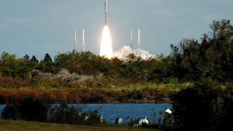 New Horizons launched from Florida's Kennedy Space Center on January 19, 2006. The probe, about the size of a piano, weighed nearly 1,054 pounds at launch. It has seven instruments on board to take images and sample Pluto's atmosphere. After it completes its five-month study of Pluto, the spacecraft will keep going deeper into the Kuiper Belt.