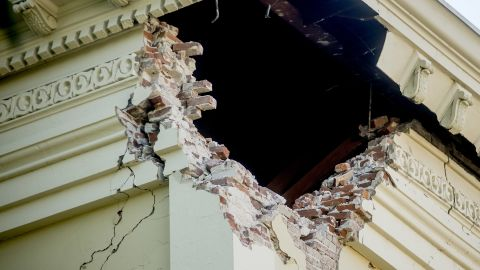 A corner of the historic Napa County courthouse sits exposed following the earthquake on Sunday, August 24.