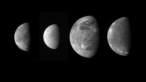 """On its way to Pluto, New Horizons snapped these photos of Jupiter's four large """"Galilean"""" moons. From left is Io, Europa, Ganymede and Callisto."""