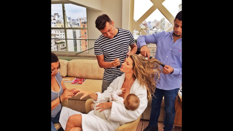 """Supermodel Gisele Bundchen posted this image to her Instagram account, opening up a dialog about whether she was representing a <a href=""""http://www.cnn.com/video/data/2.0/video/us/2013/12/11/nr-gisele-bundchen-breastfeeding-instagram.cnn.html"""">glamorized version of motherhood</a>.  """"What would I do without this beauty squad after the 15 hours flying and only 3 hours of sleep #multitasking #gettingready,"""" <a href=""""http://instagram.com/p/hvz4wzntH_/"""" target=""""_blank"""" target=""""_blank"""">she wrote</a>. Famous moms haven't been shy about sharing images of themselves breastfeeding. Click through the gallery for more examples."""