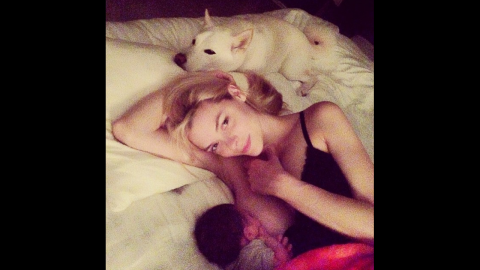 """Model Jaime King breastfeeds her son James in this intimate moment. King <a href=""""http://instagram.com/p/o_zxrKt1Ky/"""" target=""""_blank"""" target=""""_blank"""">had a message</a> to spread along with the photo: """"Breastfeeding should not be taboo -- and bottle feeding should not be judged -- it's ALL fun for the whole family:)"""""""