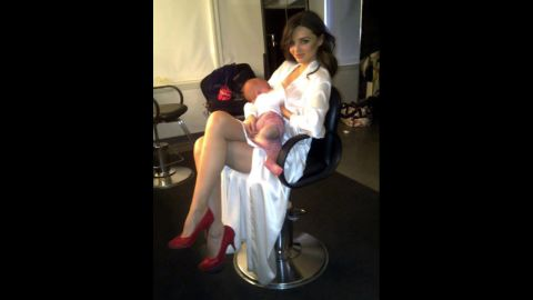"""Model Miranda Kerr has shared a couple of photos of herself breastfeeding her son Flynn. She tagged this one """"<a href=""""https://twitter.com/MirandaKerr/status/63659011983147009"""" target=""""_blank"""" target=""""_blank"""">Another day in the office</a>."""""""