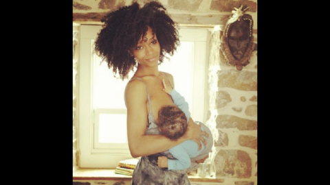"""Model and actress Yaya Dacosta posted this photo of herself feeding her son Sankara. Her <a href=""""http://instagram.com/p/lv4qTikeIC/"""" target=""""_blank"""" target=""""_blank"""">message</a>: """"vitamins for society! #normalizenursing"""""""