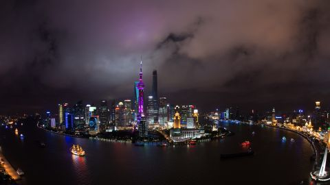 Lujiazui Financial District in the Pudong area of Shanghai looks
