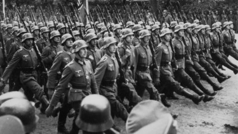 German troops march through occupied Warsaw, Poland during World War II, circa 1939. On Monday, Sept. 1, 2014, will be the 75th anniversary of the start of the World War II. On Sept. 1, 1939, Germany invades Poland, Denmark, Luxumbourg, the Netherlands, Norway, Belgium, and France soon fall into the German control, until only the United Kingdom is left to face Germany. See photo gallery highlighting the war.