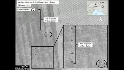 This image shows Russian self-propelled artillery units set up in firing positions near Krasnodon, Ukraine. All images are Copyright and must be attributed to Digital Globe. They must not be altered.