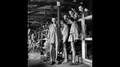 Prisoners line block 61 of Buchenwald concentration camp in April 1945. The construction of Buchenwald started July 15, 1937, and the camp was liberated by U.S. Gen. George Patton's troops on April 11, 1945. Between 239,000 and 250,000 people were imprisoned in the camp. About 56,000 died, including 11,000 Jews.