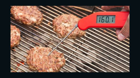 Flip patty and cook until burger registers 160 degrees, 4 to 7 minutes. (If cooking frozen burgers: Brown both sides, move to cool side of grill, cover and cook to 160 degrees.) Transfer burgers to plate and let rest for 5 minutes. While burgers rest, grill 6 large hamburger buns over hot side of grill. Transfer burgers to buns, add desired toppings and serve.
