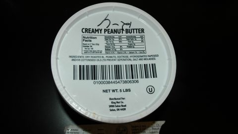 Lab tests found salmonella in a 5-pound container of King Nut peanut butter at a Minnesota nursing home. It was manufactured at Peanut Corp. of America.