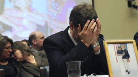 UNITED STATES - FEBRUARY 11: Jeff Almer breaks down after testifying about his mother Shirley, 72, during a House Energy and Commerce subcommittee hearing, who died after acquiring salmonella from contaminated peanut butter associated with peanut butter from the Peanut Corporation of America, February 11, 2009. (Photo By )
