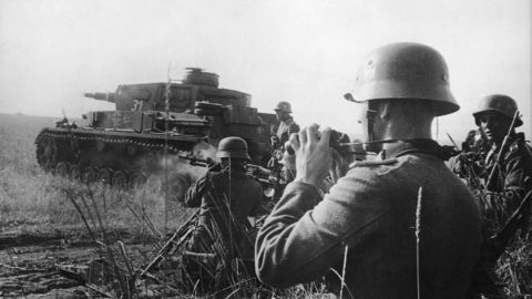 German tanks and infantry attack Soviet positions on the Eastern Front. On June 22, 1941, Germany broke its Non-Aggression Pact with the Soviet Union, launching the bloodiest theater of the war. Though the estimates vary greatly, Russia suffered the most war casualties of any nation in World War II -- as many as 13.8 million military deaths. Estimates of civilian deaths from military action, crimes against humanity, starvation and disease are as high as 9 million.