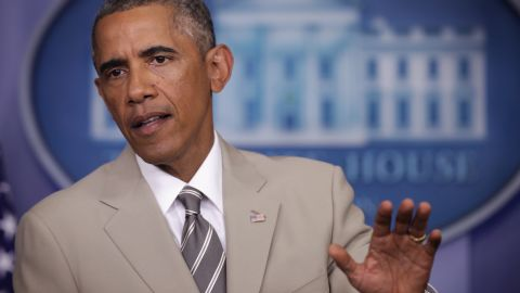 U.S. President Barack Obama makes a statement at the James Brady Press Briefing Room of the White House August 28, 2014 in Washington, DC.