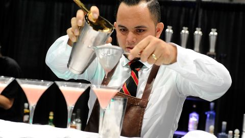 Bartender Justin Parks competes in the Shake It Up competition at the 29th annual Nightclub & Bar Convention and Trade Show at the Las Vegas Convention Center on March 25, 2014 in Las Vegas, Nevada. (Photo by David Becker/Getty Images for Nightclub & Bar Media Group)