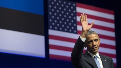 US President Barack Obama leaves after delivering a speech about US - Estonia relations, as well as the situation in Ukraine, at Nordea Concert Hall in Tallinn, Estonia, September 3, 2014.