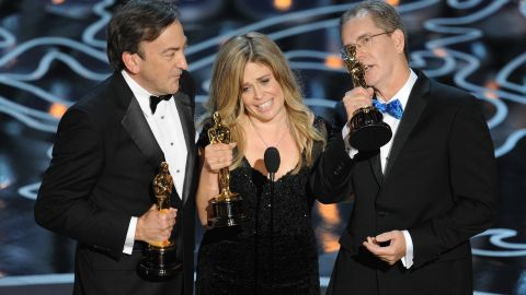 """The awards haven't just been financial. """"Frozen"""" won two Oscars, including best animated feature. It was accepted by producer Peter Del Vecho and directors Jennifer Lee and Chris Buck."""