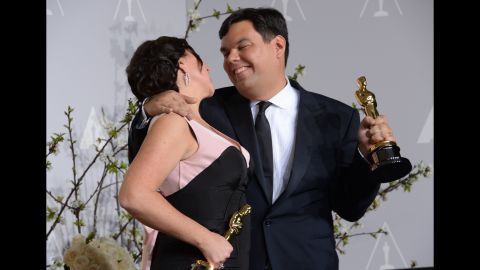 """Robert Lopez, right, became the youngest EGOT recipient -- the winner of an Emmy, Grammy, Oscar and Tony -- when he won the best original song Oscar for """"Let It Go."""" He co-wrote the song with his wife, Kristen Anderson-Lopez."""