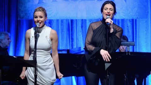 """The voices of Kristen Bell (Anna, left) and Idina Menzel (Elsa) are all over the """"Frozen"""" soundtrack, which spent 13 weeks at the top of Billboard's album chart."""