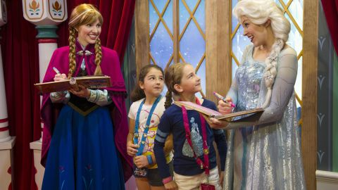 """Disney quickly added the Anna and Elsa characters to its theme parks. The wait to meet the two got to be as long as six hours at Epcot and <a href=""""https://movies.yahoo.com/blogs/yahoo-movies/frozen-out--one-reporter-s-tortured-quest-to-meet-disneyland-s-anna-and-elsa-203635415.html"""" target=""""_blank"""" target=""""_blank"""">almost as long at Disneyland</a>."""