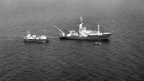 An aerial view of Alvin along with R/V Knorr and Lulu during the French-American Mid-Ocean Undersea Study -- better known as Project FAMOUS in 1974. The study was the first opportunity for a intense examination of the Mid-Atlantic Ridge, when scientists were able to confirm a theory that the seafloor was spreading.