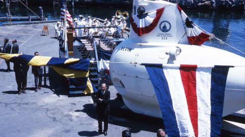 The sub is named in honor of Woods Hole Oceanographic Institute (WHOI) scientist Allyn Vine, who pushed tirelessly in the '50s to turn the idea of a deep-sea submersible into a reality. The manned deep submergence vehicle was finally commissioned on June 5, 1964, pictured.
