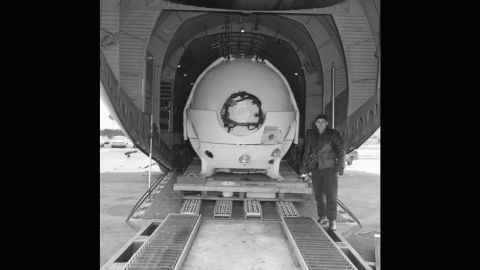 An unexploded atomic bomb was accidentally dropped in the Mediterranean sea in 1966, when an Air Force B-52 collided with a tanker plane off the coast of Palomares, Spain. Alvin is pictured being loaded onto a plane at Otis Air Base to join the hunt for the missing H-bomb, which it eventually found.