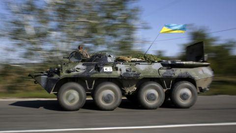 A Ukrainian military vehicle patrols in the Donetsk region on September 3.