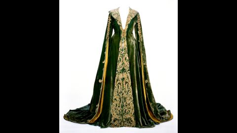 """A green velvet dressing gown -- known informally as the """"no more babies"""" dress -- is the third of the original costumes on display at the Ransom Center. The center raised $30,000 in 2010 to help support conservation work on the dresses. Designer Walter Plunkett was the go-to guy in Hollywood for historical costumes, Morena says, noting his ability to mesh period accuracy of the 1860s and 1870s with the fashion sensibilities of the 1930s."""