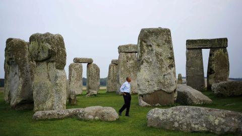 President Barack Obama visits Stonehenge after leaving the NATO summit in Newport, Wales, Friday, September 5, 2014.