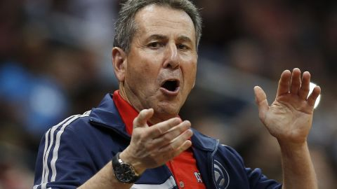 """FILE - In this April 26, 2014, file photo, Atlanta Hawks co-owner Bruce Levenson cheers from the stands in the second half of Game 4 of an NBA basketball first-round playoff series against the Indiana Pacers in Atlanta. Levenson said Sunday, Sept. 7, 2014, he is selling his controlling interest in the team, in part due to an inflammatory email he said he wrote in an attempt """"to bridge Atlanta's racial sports divide."""" (AP Photo/John Bazemore, File)"""